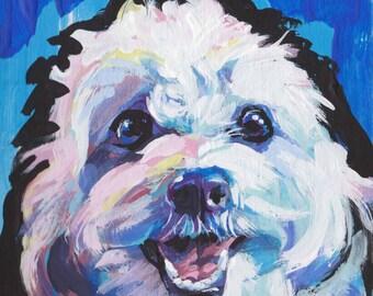 "fun CAVACHON portrait dog art print of original pop art painting 8x8"""