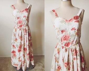 Rose Print Sundress | Sweetheart Floral Rose Dress | Vintage Style Rose Cocktail Dress | Rose Summer Dress | Upcycled Bedsheet Dress