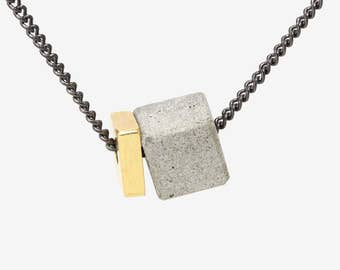 Architectural Jewelry, Long Geometric Necklace, Concrete And Brass Necklace, Architecture Necklace