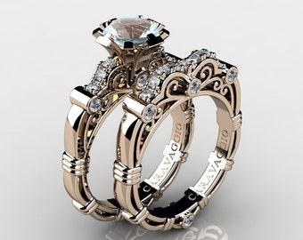 Art Masters Caravaggio 14K Rose Gold 1.0 Ct Aquamarine White Diamond Engagement Ring Wedding Band Set R623S-14KRGDAQ