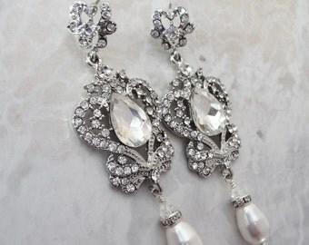 Crystal and pearl earrings ~ Swarovski earrings ~ Crystal chandelier earrings ~ Vintage style ~ Brides earrings ~ Pearl earrings, SARAH