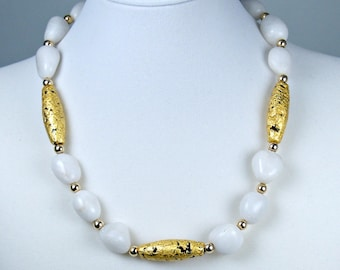"""Gold and White Aventurine Necklace, 23 Karat Gold Leaf on Lava, Gilded Jewelry, Toggle Clasp, 19"""""""