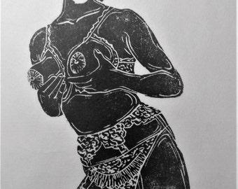 """inspiration erotique vintage linogravure imprimé à l'encre à l'huile  sur papier de riz  """" Odette"""""""