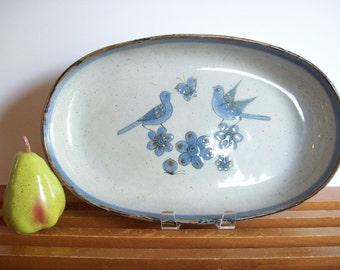 Ken Edwards Tray, Platter, El Palomar, Tonala Mexico, Boho Mid Century Dinnerware Pottery, Blue Bird, Oval Serving Platter