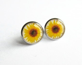 Sunflower Earrings, Sun Flower Studs, Yellow Flower Picture Earrings, Jewellery Gift for Her, Hypoallergenic