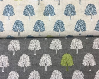 Makower 1746 Heartwood Trees in ivory or grey by the half metre