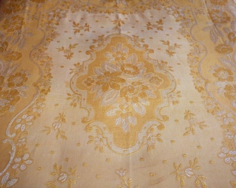 Antique French bedspread throw coverlet bed spread yellow orange satin w ROMANTIC home design of roses w fringes, vintage French bed linens