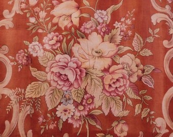 Antique French floral fabric w roses tulips rusty brown fabric w floral design vintage French sewing fabric patchwork upholstery supply