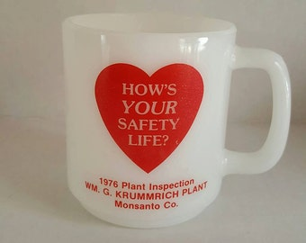 Monsanto Milk Glass souvenir cup from plant inspection in 1976...Very collectible