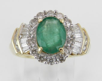 14K Yellow Gold Diamond and Emerald Halo Engagement Ring Size 7 May Birthstone