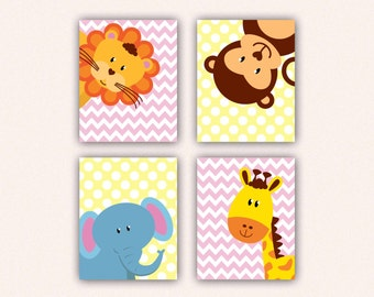 Jungle Animal Nursery Print Set - Elephant Monkey Giraffe Lion Kids Bedroom Art, Chevron and Polka Dot Safari Decor in Pink & Yellow (5008)