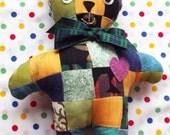 Patchwork Teddy Multi Coloured Unisex Soft Toy Stuffed Animals Baby Gift Softie Soft Toys Nursery Decor