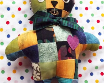 Patchwork Teddy, Multi Coloured, Unisex, Soft Toy, Stuffed Animals, Baby Gift, Softie, Soft Toys, Nursery Decor