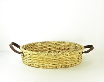 Large Raffia Basket with Leather Handles, Vintage Farmhouse Decor