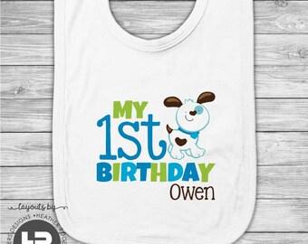 Puppy Dog 1st Birthday Bib - Boys Personalized Puppy First Birthday Bib - Printed Monogram Bib - First Birthday Outfit