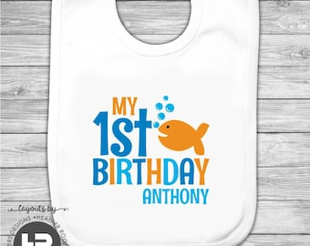 Goldfish 1st Birthday Bib -  Personalized Goldfish 1st Birthday Bib - Printed Monogram Bib