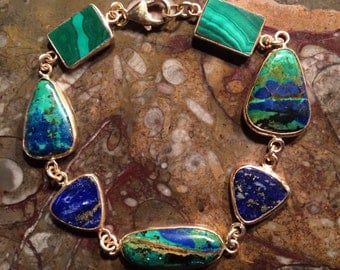BLUE and GREEN! Azurite-Malachite, Lapis Lazuli, and Malachite Gold-filled Open Bezel-set Bracelet