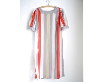 Vintage Sheer Tunic Dress ight stylish striped airy summer dress short puff sleeves Mid length dress cotton Gauze