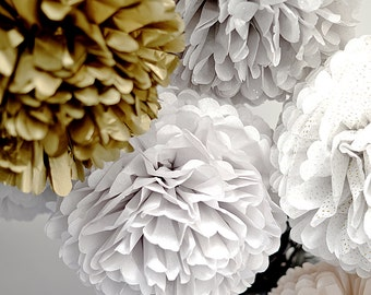 1 pom in 10 small shimmer / metallic / printed  tissue paper pom poms  - party decorations - wedding decorations