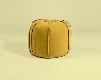 Yellow Ottoman Pouf - fabric Footstool – Home decor- Bean Bag Pouf - Furniture fabric Floor Cushions -
