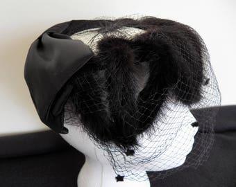Vintage Black Fur Veil Halo Hat - Ladies Hat - Veil Netting Hat - Open Crown Hat - Accessory - Millinery - Tulle Couture Hat - 1950's Hat