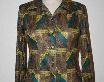 70s Shirt Green Olive Brown Disco Blouse, Novelty Print Secretary Button Up Long Sleeve Plus, Size M Medium to L Large