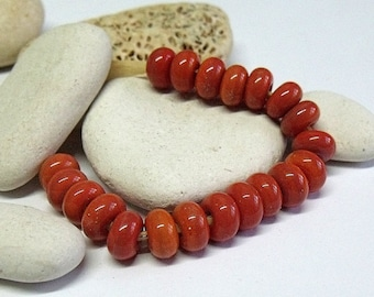 Dark Coral, Lampwork Spacer Beads, SRA, UK