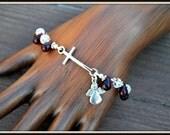 Cross Bracelet, Garnet Glass Bracelet, Crystal Cross Bracelet, Cross and Angel Bracelet, Angel Charm Bracelet, Glass Briolette Bracelet