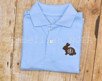 Easter Bunny Rabbit with Monogram Collared Shirt Easter Shirt Easter Outfit
