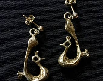 Vintage ISRAELI Vermeil Earrings Sterling Silver Hand Cast Artisan Jewelry Bier Uber Kuchi®