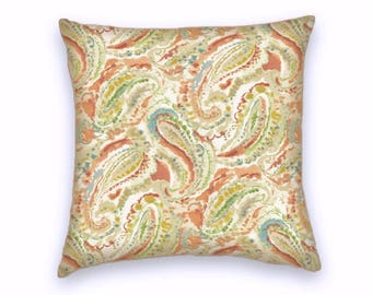 Yellow Blue Pink Green Cream Paisley Decorative Throw Pillow-18x18 or 20x20 or 22x22- Pillow Cover- Accent Pillow