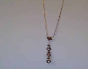 Sterling silver Necklace with 3 Hearts Pendant.