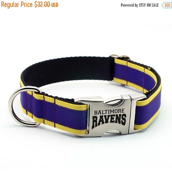 New Year Sale - 17% Off Baltimore Ravens Dog Collar with Laser Etched Aluminum buckle