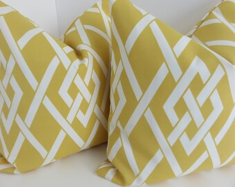 Outdoor/Indoor Yellow White Pillow Covers- Outdoor Yellow Pillow- Yellow Old Secret Gate Pillow Covers - Outdoor Pillow Covers- Pillow Cover