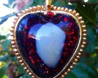 Heart Coober Pedy Opal Pendant