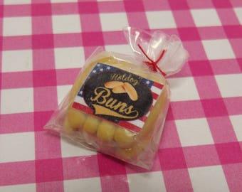 1 x Dollhouse Bakery Shop Bag of Handmade 1:12 Miniature Hotdog Buns