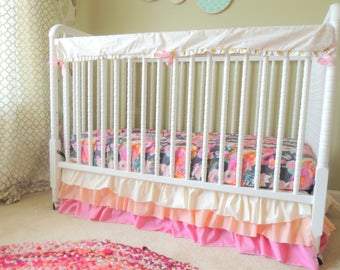 Bumperless Cribset in Gray Pink Coral and Gold with Gold Herringbone Rail Guard, Pink Coral Skirt, Grey Pink Floral Crib Sheet, Ombre Skirt