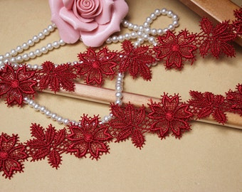1 1/4 inch wide dark red embroidered lace trim price for 1 yard