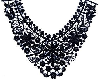 black Embroidery Venise flower lace neckline 1 pc