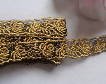 5/8 inch wide gold black mesh embroidered  lace trim price for 1 yard