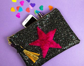 Glitter Pink Faux Fur Star Clutch Handbag