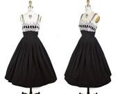 EMERGENCY SALE 1950s Dress // Black Cotton Lace Bodice Velvet Ribbon Full Skirt Sundress