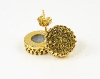 Gold Geode Earrings, Gold Druzy Stud Earrings, Gold Druzy Post Earrings 14KT Gold Filled Filigree Gold Filled Stud Earrings |EC3-19