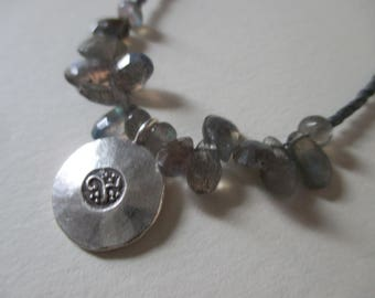 Om necklace with labradorite and silver glass beads - labradorite Hill Tribe silver necklace - lotus necklace