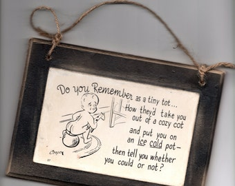 Antique Postcard Hanging Sign Door Hanger Potty Training  Lavatory Bathroom  Office Rustic Decor Greeting