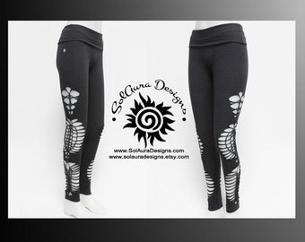 "Womens / Juniors ""COSMOS"" Cut Up, Shredded and Weaved High Waisted Dark Grey Leggings, Festival Wear, Burning Man Wear - L-3015"