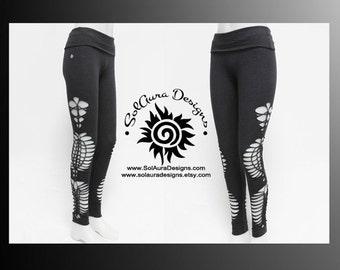 COSMOS - Womens / Juniors Cut Up, Shredded and Weaved High Waist Dark Grey Leggings, Festival Wear, Burning Man Wear