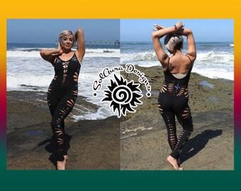 ENCHANTRESS - Juniors / Womens Cut and Weaved Spaghetti Strap Rhinestone Black Catsuit - Festival Wear, Performance Wear, Burning Man Wear