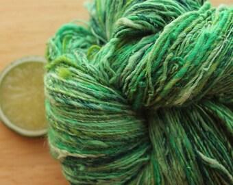 Emerald Isle - Handspun Wool Alpaca Yarn Green Sparkle