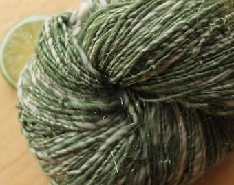 Frosty Pines - Yarn Handspun Merino Wool Sparkle Green White
